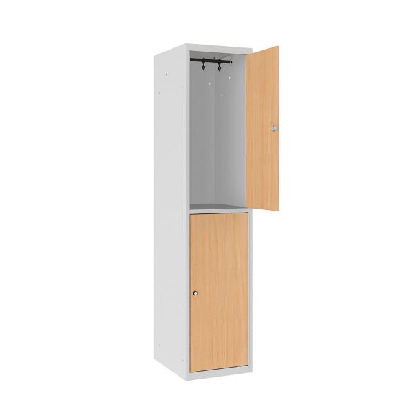 vestiaire 2 cases superpos es avec portes en bois larg. Black Bedroom Furniture Sets. Home Design Ideas